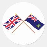Reino Unido y banderas cruzadas British Virgin Pegatinas Redondas