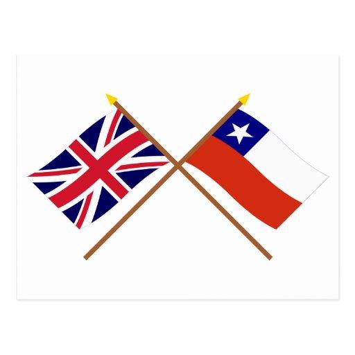 Reino Unido y banderas cruzadas Chile Postal