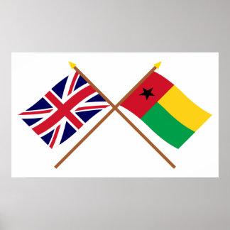 Reino Unido y banderas cruzadas Guinea-Bissau Posters