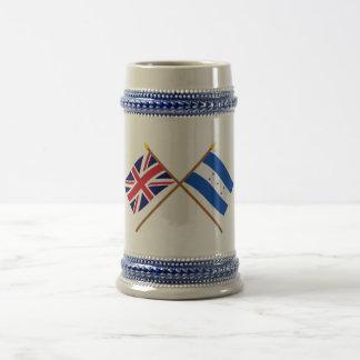 Reino Unido y banderas cruzadas Honduras Tazas De Café