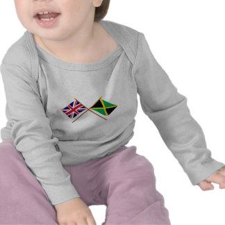 Reino Unido y banderas cruzadas Jamaica Camiseta