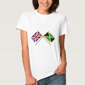 Reino Unido y banderas cruzadas Jamaica Camisetas