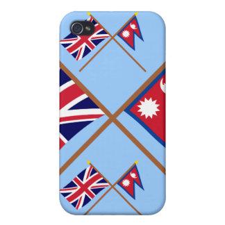 Reino Unido y banderas cruzadas Nepal iPhone 4 Coberturas