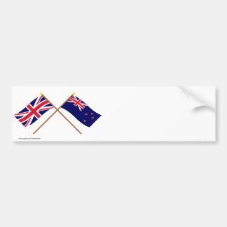 Reino Unido y banderas cruzadas Nueva Zelanda Pegatina Para Coche