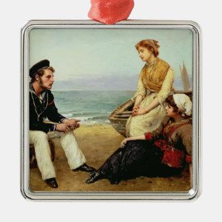 Relacionar sus aventuras, 1881 adorno cuadrado plateado