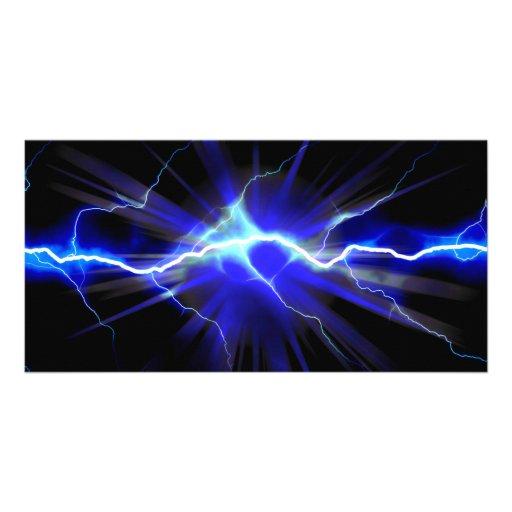 Relámpago que brilla intensamente azul o electrici tarjetas fotográficas personalizadas