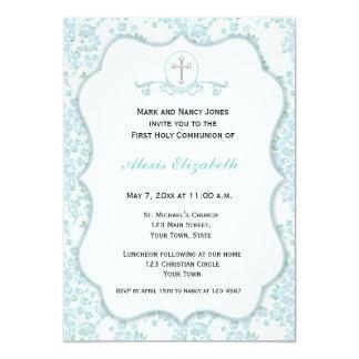 Religioso floral azul delicado invitación 12,7 x 17,8 cm