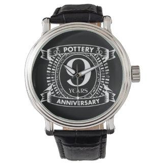 Reloj 9na cerámica del aniversario de boda