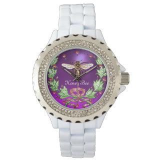 Reloj ABEJA de la MIEL Y púrpura FLORAL VERDE del