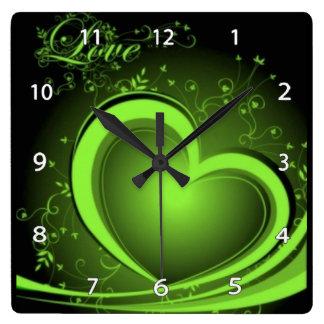 Reloj abstracto verde del corazón