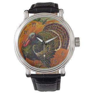 Reloj Acción de gracias Turquía delante de una calabaza