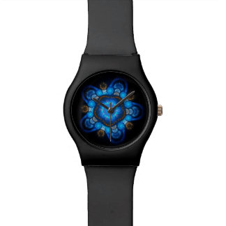 Reloj adaptable unisex azul negro de los pescados