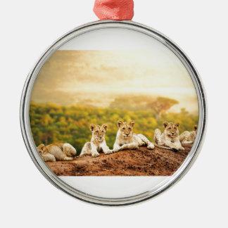 Reloj adolescente de los leones de una colina adorno de cerámica