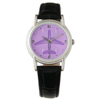 Reloj Aeroplano del art déco, púrpura violeta y lavanda