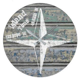 Reloj alrededor de costero del tiempo de la isla