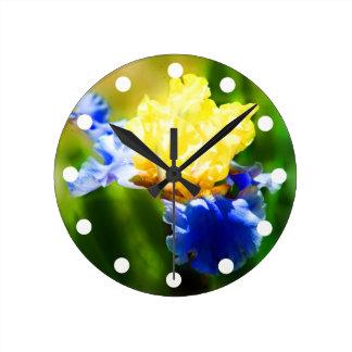 Reloj Redondo Mediano Reloj amarillo y violeta del iris