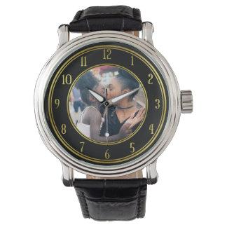 Reloj Añada su negro personalizado del oro de la foto el