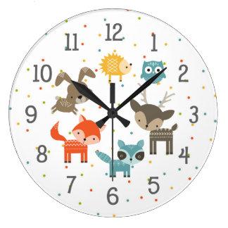 Reloj animal del cuarto de niños del bebé del