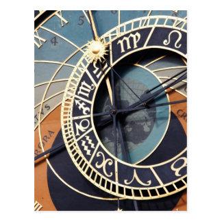 Reloj antiguo de Checo del reloj de la astrología Postal
