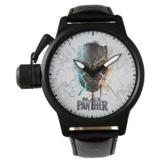 Reloj Arte dual negro de la calle de las panteras de la