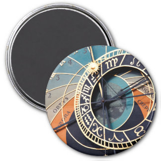 Reloj astrológico medieval antiguo Checo Imán Redondo 7 Cm