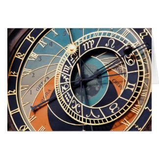 Reloj astrológico medieval antiguo Checo Tarjeta De Felicitación