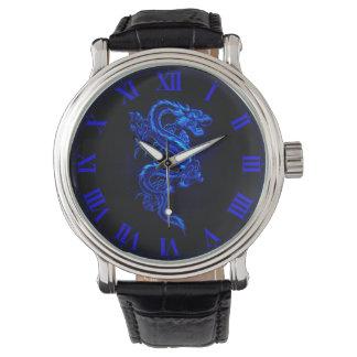 Reloj azul asiático del dragón