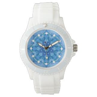Reloj azul caleidoscópico