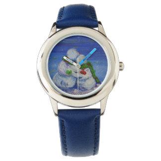 Reloj Azul de acero inoxidable del muñeco de nieve de