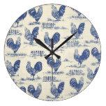 Reloj azul de la impresión de los gallos del país