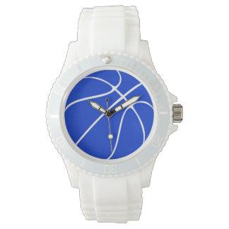 Reloj azul del baloncesto de las mujeres