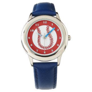 Reloj azul del béisbol de los niños