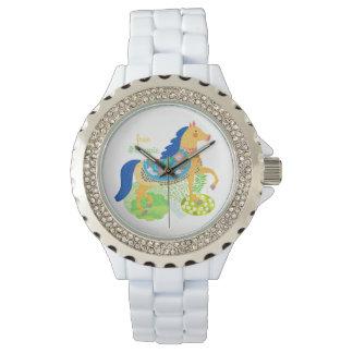 Reloj azul del ejemplo del caballo