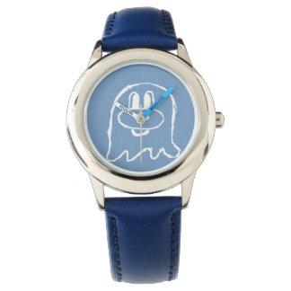 Reloj azul en colores pastel del acero inoxidable