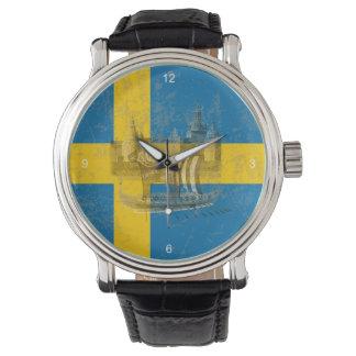 Reloj Bandera y símbolos de Suecia ID159
