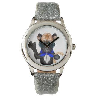 Reloj barro amasado del vaquero - vaquero del perro