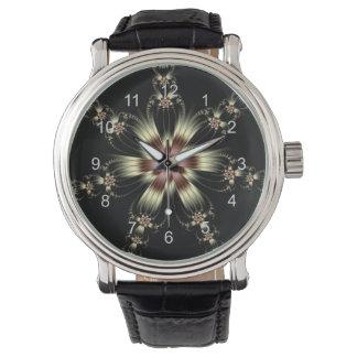 Reloj blanco de las flores del cordón