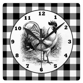 Reloj blanco del control del negro del gallo del reloj cuadrado