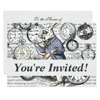 Reloj blanco del país de las maravillas de Alicia Invitación 11,4 X 15,8 Cm