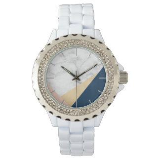 Reloj bloque azul del color del melocotón de mármol