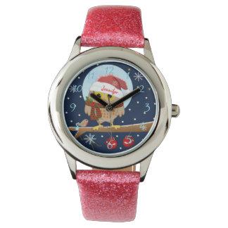 Reloj Búho lindo de Santa con números y nombre de