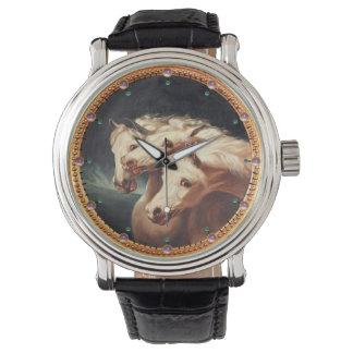Reloj Caballos árabes blancos del carro del Pharaoh