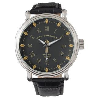 Reloj Católico de oro de la sacerdocio del jubileo del