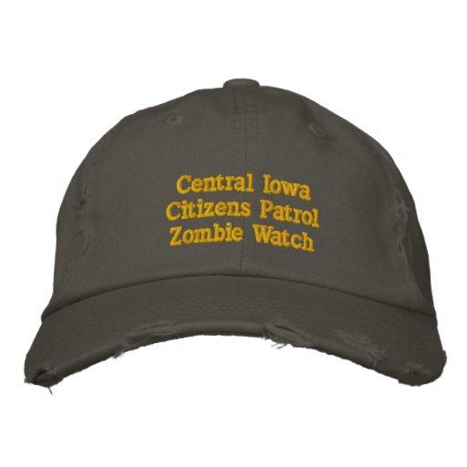 Reloj central    del zombi de la patrulla    de lo gorra de beisbol bordada