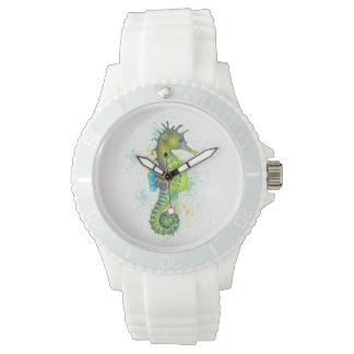 Reloj Chapoteo del Seahorse del verde amarillo