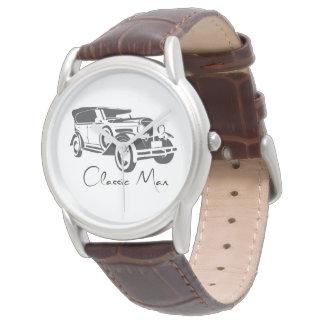 Reloj clásico del cuero de Brown del hombre