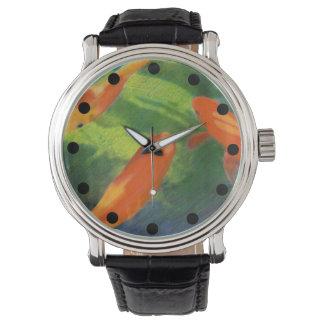 Reloj Reloj coloreado estanque de peces del dibujo de