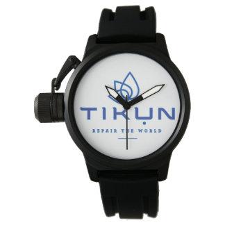 Reloj congregado caucho negro de Tikun