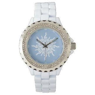Reloj Copo de nieve blanco azul del Clef agudo del