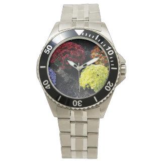 Reloj Crisantemos coloridos